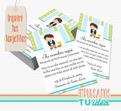 Comunión varón - Estampita para imprimir con nenito Ideas Para Fiestas, Communion, Gabriel, Printable, Community