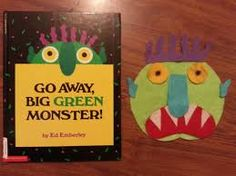 """""""GO AWAY BIG GREEN MONSTER!"""" book and felt story. Caldecott Award-winning author-artist Ed Emberley has created an ingenious way for children to chase away their nighttime fears. Kids can turn the pages of this die-cut book and watch the Big Green Monster grow. Then, when they're ready to show him who's in charge, they'll turn the remaining pages and watch him disappear! This lavish reissue features dramatic die-cut eyes and sparkling foil on the cover."""