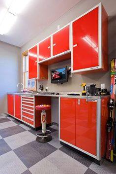 red Moduline aluminum garage storage cabinets: