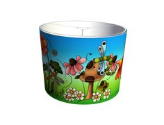DIY lampshade kits. Designed by Duffy of London - A colourful design - perfect for a childrens room or a nursery: lots of cute dragonflies, pretty flowers, butterflies and mushrooms.