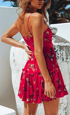 Lily Rosie Red Print Floral Beach Dress Ruffles Spaghetti Strap Summer Dress Short Casual Boho Dress Vestidos Color Pink Size S Floral Beach Dresses, Fashion Outfits, Womens Fashion, Fashion Trends, Ladies Fashion, Red Fashion, Fashion Boots, Fashion Ideas, Short Summer Dresses