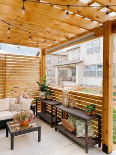 Diy Pergola, Cedar Pergola, Outdoor Pergola, Porch With Pergola, Outdoor Patios, Modern Pergola, Outdoor Rooms, Outside Living, Outdoor Living