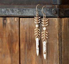 Chevron Spike Drop Earrings  Tribal  Fish Spine by prairieoats, $28.00