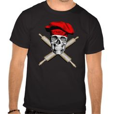 Black and white skull and crossed rolling pins as crossbones wearing a red traditional, puffy chef style hat