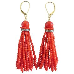 Red Coral Tassel Earrings | From a unique collection of vintage dangle earrings at https://www.1stdibs.com/jewelry/earrings/dangle-earrings/