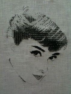 CHIHO IKEDA The Art of Blackwork Embroidery: 【FACE】 Beautiful Woman in BLACKWORK №1