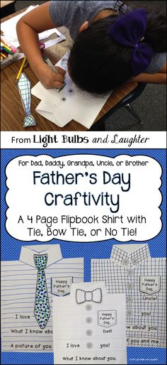Fun Father's Day Craftivity! Make a flip book shirt with tie, bow tie, or NO tie. Includes writing and drawing. TpT$