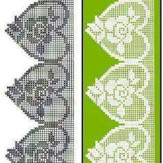Filet crochet lace heart edging
