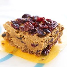 Peanut Butter, Bran, and dried cranberry bars for breakfast or snacks.