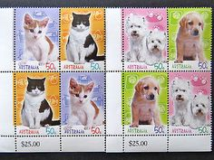 Australian Decimal Stamps: 2004 Cats & Dogs Stamp Collecting Mth-Set4x2 Tabs MNH