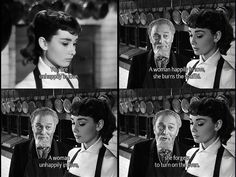 you are unhappily in love. a woman happily in love, she burns the soufflé. a woman unhappily in love, she forgets to turn on the oven. Sabrina Audrey Hepburn, Audrey Hepburn Movies, Audrey Hepburn Quotes, Audrey Hepburn Style, Movie Love Quotes, Tv Show Quotes, Film Quotes, Sabrina 1954, Old Hollywood Movies