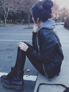 Combat boots with leggings. All black style.