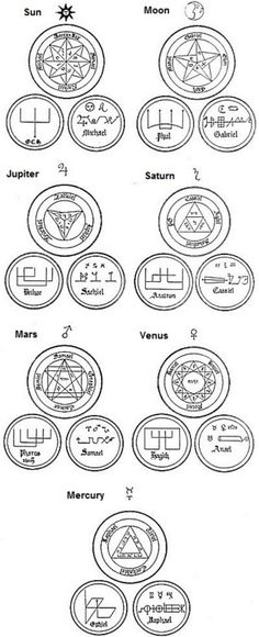 """Ceremonial Magick:  #Ceremonial #Magick ~ Symbols: regarding the archangels, both """"good"""" and """"bad"""", and what planets they are attached to/involved with/are influenced by/have influence over."""