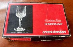 4 Cristal D'Arques Longchamp Wine Glasses  24% Lead Crystal 6 oz 17.5 cl #CristalDArques