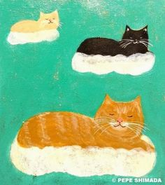 """""""Cats of Clouds"""" <=> Acrylic on Canvas Artist Pepe Shimada Copyright © PEPE SHIMADA All Rights Reserved"""