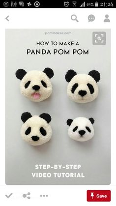 75 Most Profitable Crafts to Sell to Make Money - Crochet & yarn crafts - Crafts To Make and Sell – Panda Pom Pom – 75 MORE Easy DIY Ideas for Cheap Things To Sell on Et - Diy Craft Projects, Crochet Projects, Craft Ideas, Diy Ideas, Project Ideas, Craft Tutorials, Math Projects, Vinyl Projects, Video Tutorials