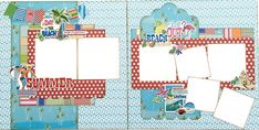 Capture your beach and poolside memories with this summer themed two page layout kit. This kit comes pre cut, ready to assemble, and includes full color instructions. Beach Scrapbook Layouts, Vacation Scrapbook, Scrapbook Sketches, Scrapbooking Layouts, Scrapbook Templates, Paper Bag Scrapbook, Scrapbook Supplies, Scrapbook Pages, Scrapbook Organization