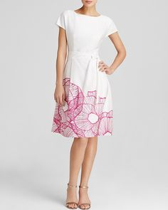 Anne Klein Dress - Cap Sleeve Floral Print Fit and Flare
