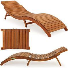 Wooden Sun Lounger   Ergonomic Sun Deck Foldable Lounger With Headrest   Foldable