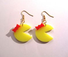 Miss Pac Man Style Retro Earrings. Cute classic Miss Pac Man game style earrings, fashioned from 3mm laser-cut acrylic. On a gold plated ear hook.