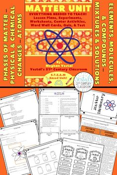 Matter Activities include lesson plans, hands-on activities and experiments, worksheets, and video links.  #vestals21stcenturyclassroom #teachingmatter #matterexperiments #matteractivities #matterworksheets #matterprojects #4thgradescience #5thgradescience #stem