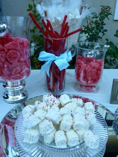 red and blue candy table