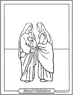 mary visits elizabeth coloring page - 40 rosary coloring pages the mysteries of the rosary