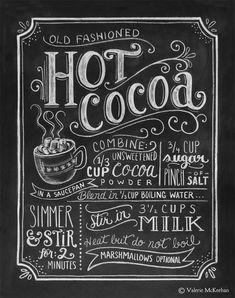 Hot Cocoa Recipe Print Print Chalkboard Christmas by LilyandVal Chalklettering, chalk, lettering, typography Hot Cocoa Recipe, Cocoa Recipes, Chalkboard Lettering, Chalkboard Designs, Chalkboard Walls, Kitchen Chalkboard, Chalkboard Drawings, Chalkboard Ideas, Chalkboard Boarders