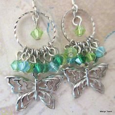 Butterfly Charm Green Lime Blue Earrings Butterfly by MangoTease