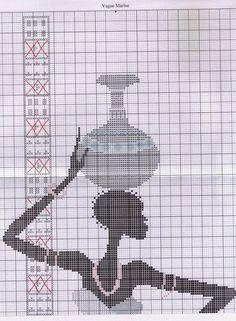 0 point de croix femme africaine avec jarre sur la tete - cross stitch african woman with a jar on her head part 1