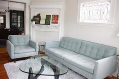 Rich & Emily's Somerville Surprise House Tour | Apartment Therapy. Oh. My. God. I love the couch and chair!!! I want them, no, NEED them!!!