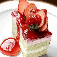 Клубничный десерт на тарелке