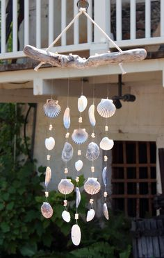 Driftwood Seashell Wind Chimes Handmade One-of-a-Kind Wind Chimes Natural Shells Beach House Decor Outdoor Mobile Sand Dollars Shells Seashell Crafts, Beach Crafts, Sand Crafts, Seashell Wind Chimes, Wind Chimes Craft, Beach House Decor, Home Decor, Beach Houses, Coastal Homes