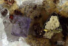 Chalkopyrit, Fluorit, Quarz :  Clara Mine,Rankach valley, Oberwolfach, Wolfach, Black Forest, Baden-Würtemberg, Germany Copyright © H. Stoya