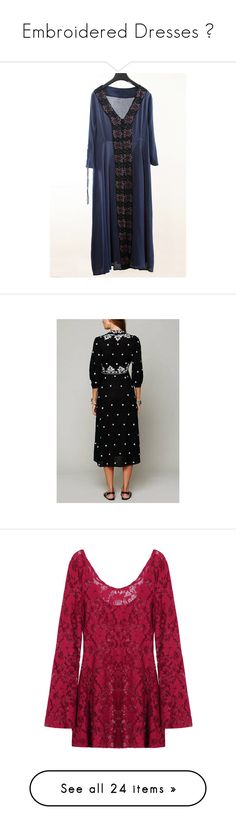 """""""Embroidered Dresses !"""" by yoinscollection ❤ liked on Polyvore featuring dresses, navy, embroidery dresses, 3 4 sleeve maxi dress, 3/4 sleeve dresses, button front maxi dress, v neck maxi dress, embroidered maxi dress, holiday party dresses and sleeved maxi dress"""