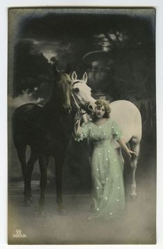 C 1920 Young Lady w Black and White Horses Tinted Photo Postcard | eBay
