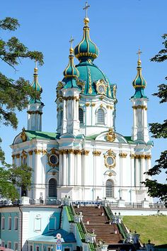 St Andrews Church in Kiev Ucraine Cathedral Architecture, Russian Architecture, Baroque Architecture, Religious Architecture, Classical Architecture, Beautiful Architecture, Places In Europe, Places Around The World, Places To Visit