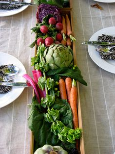 Fresh vegetables, eat while at dinner, or just use as a centerpiece.  Good for Thanksgiving, or a Farm to Table dinner party.