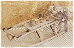 Adventskranz Schlitten Shabby Chic  von Wohngeschichten von K. auf DaWanda.com