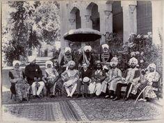 The Rulers of Indian Princely States with Punjab Lieutenant Governor Sir Dennis Fitzpatrick at #Lahore c. 1894 (sitting 6th from left Nawab Sadiq Muhammad Abbasi IV of #Bahawalpur State) Sitting (L to R): 1st: (?) 2nd: Maharaja Shamsher Prakash Of Sirmur State 3rd: Hira Singh of Nabha State 4th: Maharaja Sir Rajinder Singh of Patiala State 5th: Sir Dennis Fitzpatrick 6th: Sadiq Muhammad Abbasi IV of Bahawalpur State 8th: Jagatjit Singh Bahadur, Maharaja of Kapurthala.