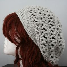 Crocheted Slouch Hat  Soft Grey  or Pick Color by knittin4u,