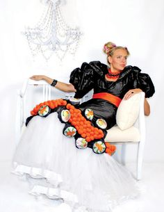 Sushi  Masago detailed evening gown by MIMI TIN FASHION