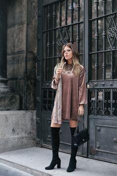 Velvet Dress + High Boots