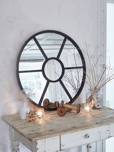 This Extra Large Arched Wooden Loft Style Window Mirror