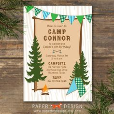 Party Invitation  Camp Theme  DIY Printable  by PaperFoxDesign, $12.50