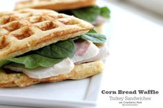 Cornbread Waffle Sandwiches great for leftover turkey with cranberry aioli @createdbydiane