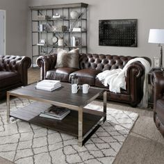 Add this beautifully crafted brown leather tufted sofa and chair to your living space today! This set features nailhead trim to complement the overall design. Brown Leather Couch Living Room, Living Room Grey, Living Room Sets, Living Room Designs, Brown Leather Couches, Leather Living Room Furniture, Living Room With Brown Couches, Living Room Decor Brown Leather Couch, Brown Sofa Decor