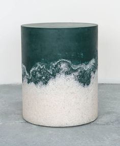 Drum - Jade Cement and White Rock Salt | From a unique collection of antique and modern stools at https://www.1stdibs.com/furniture/seating/stools/