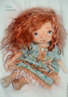 Купить Мэри - бирюзовый, коллекционная кукла, текстильная кукла, авторская ручная работа, интерьерная кукла ☆