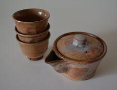 Japanese Shigaraki pottery teapot and 3 cups, ceramic kyusu set by StyledinJapan on Etsy